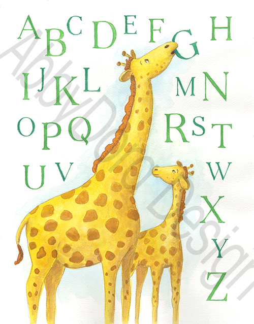 watercolor painting featuring mother giraffe bit the G of the alphabet while her baby looks on
