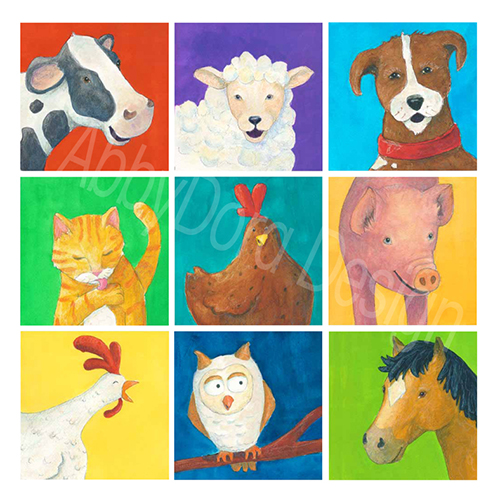 colorful farm animals painted in vibrant colors