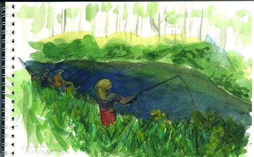 watercolor sketch of upstate NY fishing spot