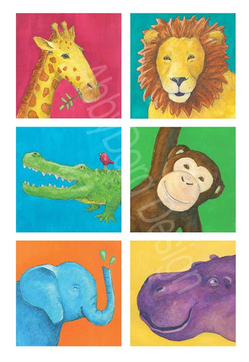 giraffe, lion, alligator, monkey, elephant, hippo painted in bright watercolors