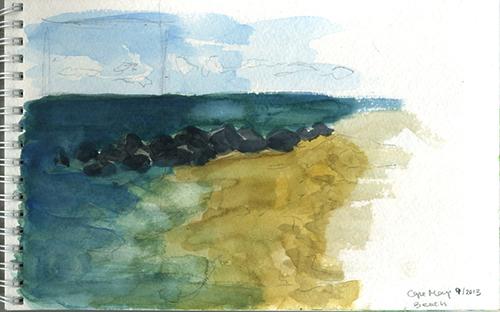 Cape May ocean sketch of beach