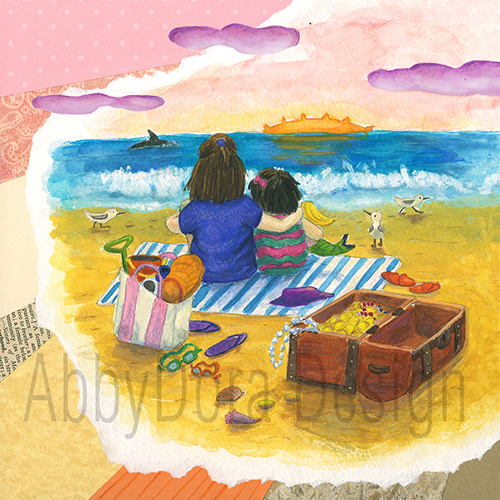 watercolor and collage children's art of 2 girls sitting on beach watching sun set