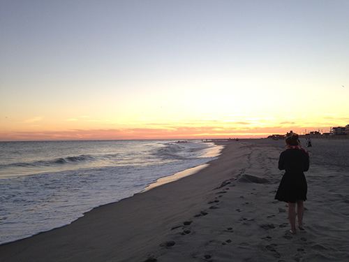 Abby walking in sunset