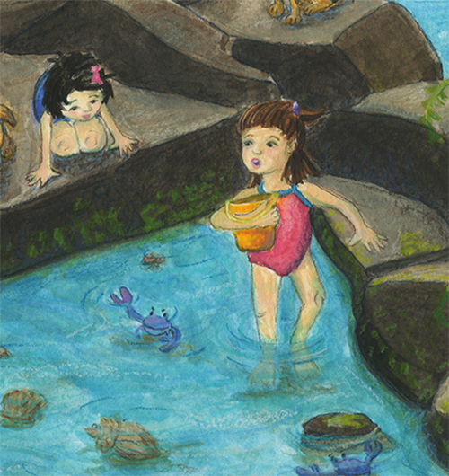 children's art of 2 girls exploring a tide pool with a mermaid