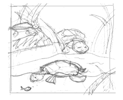 sketch of turtles playing in pond