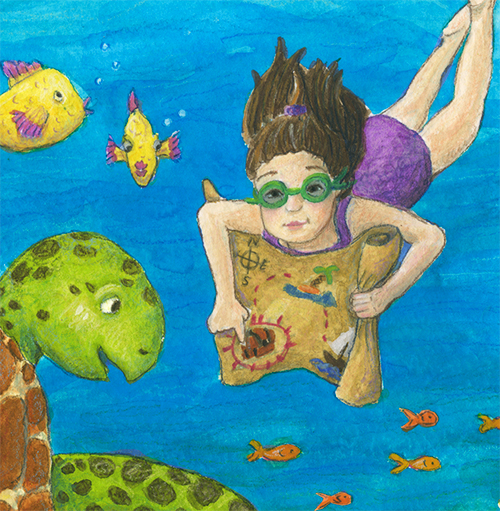 watercolor children's art of girl holding treasure map asking sea turtle for help