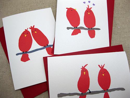 set of 3 red bird valentine cards