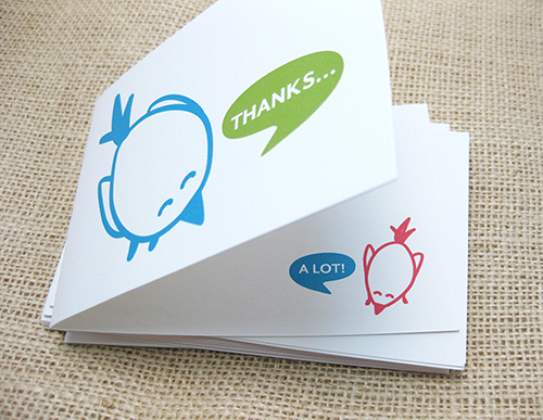 Digital modern song bird saysing thank on front of card and smaller bird saying alot on inside