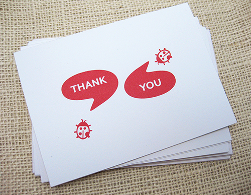 2 ladybugs on front of card saying in speech bubbles, thank and you