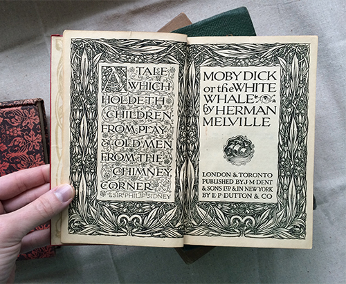 photo of ornate title page design of letterpressed Moby Dick book