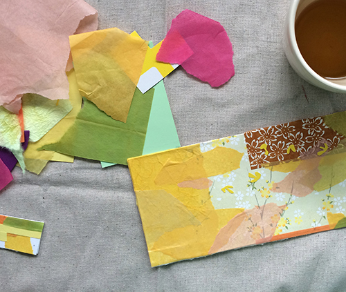 photo of scraps of tissue paper and a paper collage with yellow as the dominent color