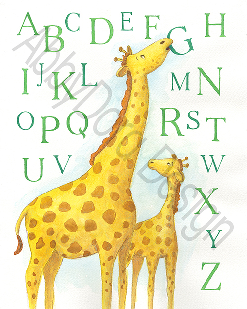 mother giraffe and her baby with the alphabet