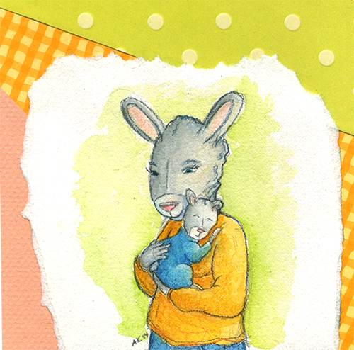 watercolor collage art featuring mother rabbit holding baby boy rabbit