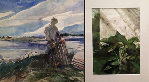 2 watercolor painting of lobster man and green ferns by Andrew Wyeth