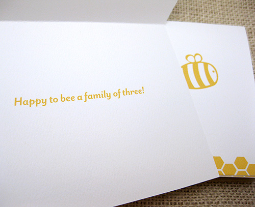 bee themed card for baby shower thank you note