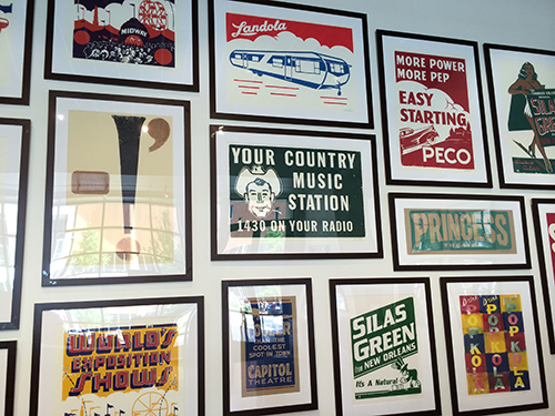 photo of wall of letterpress posters