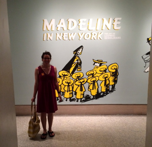 Abby standing in front of the Madeline show at NYC Historical Museum
