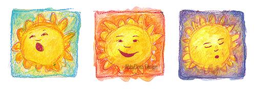 AbbyDora Design watercolor of yawning sun, smiling sun, sleeping sun