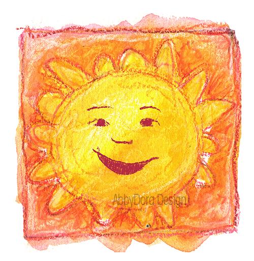 AbbyDora Design watercolor of smiling sun