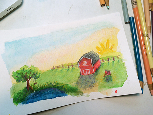 watercolor painting of sunrise on red barn