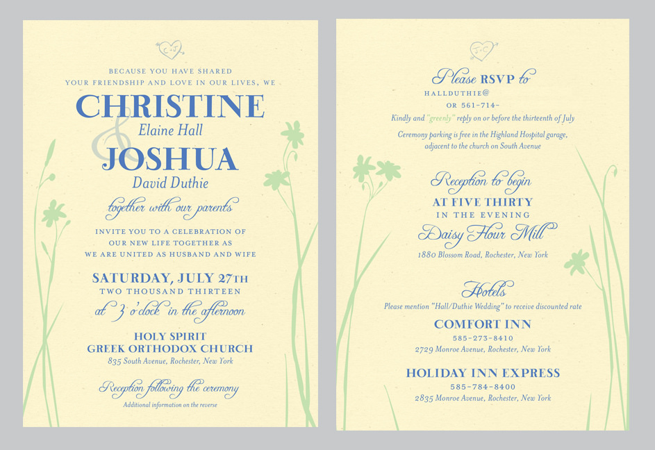 wild flower wedding invitation double sided custom wedding invitation featuring simple silhouettes of wild flowers