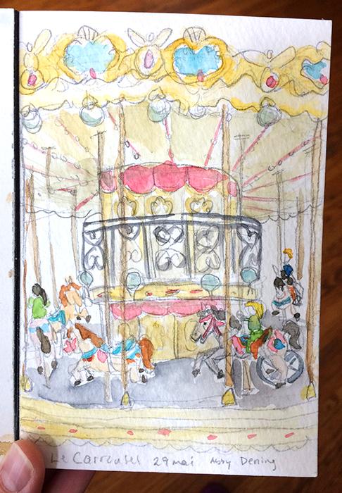 watercolor sketch of carousel in Paris