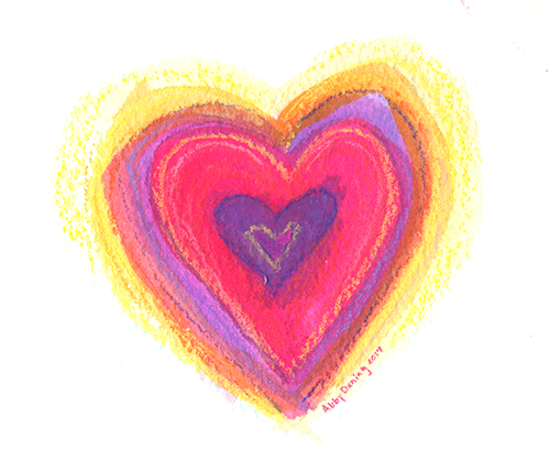 watercolor purple and red heart