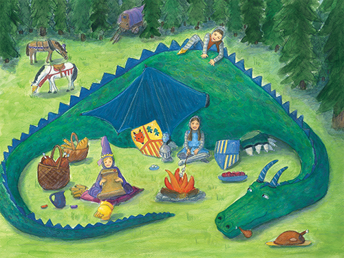 children's art featuring green friendly dragon curled around kids having a picnic