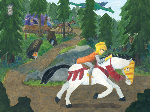 Young boy knight riding through the forest